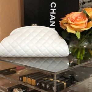 Authentic white chanel clutch